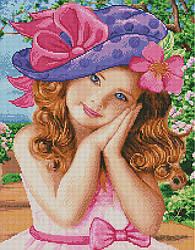 """Алмазная мозаика """"Девочка в шляпке"""" (девочка, ребенок, дети)"""