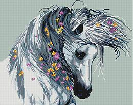 """Алмазная мозаика """"Белая лошадь"""" (лошадь, конь, животные)"""