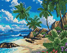 """Алмазная мозаика """"Райское побережье"""" (пляж, берег, побережье, тропики, отдых, пальмы, лето)"""