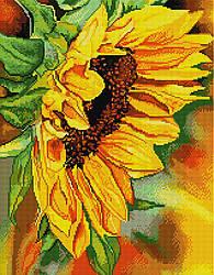 """Алмазная мозаика """"Цветок подсолнуха"""" (подсолнух, цветы, желтый)"""