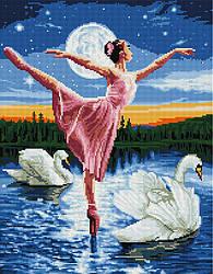 "Алмазная мозаика ""Лебединое озеро"" (балерина, балет, лебеди)"