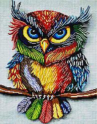 "Алмазная мозаика ""Красочная сова"" (сова, яркая, птица)"