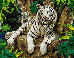 """Алмазная мозаика """"Семья белых тигров"""" (тигр, животные, дикие животные)"""