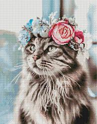 """Алмазная мозаика """"Кошка в веночке"""" (кошка, кот, котята)"""