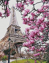 "Алмазная мозаика ""Цветение в Париже"" (Париж, Франция, цветы)"