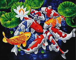 """Алмазная мозаика """"Карпы кои"""" (карпы кои, рыбы, озеро)"""