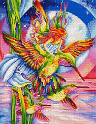 """Алмазная мозаика """"Радужные колибри"""" (колибри, девушка, птицы)"""