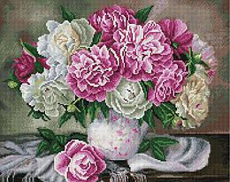 """Алмазная мозаика """"Пышные пионы"""" (пионы, букет, цветы)"""