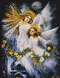 "Алмазная мозаика ""Мама и дочь"" (ангел, ангелок, мама)"