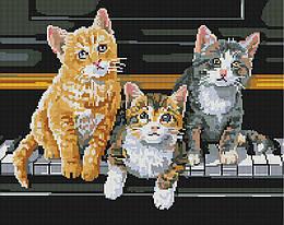 """Алмазная мозаика """"Музыкальные коты"""" (кот, кошка, котенок, пианино)"""