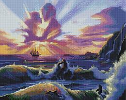 """Алмазная мозаика """"Влюбленные и море"""" (любовь, море, чувства, пара)"""
