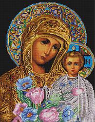 """Алмазная мозаика """"Икона Мария и Исус"""" (икона, Иисус, Мария)"""