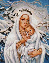 """Алмазная мозаика """"Мария и Исус зимой"""" (икона, Иисус, Мария)"""