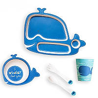 Детская бамбуковая посуда Кит, набор из 2-х тарелок, чашки, ложки и вилки BP14 Whale SKL25-149771