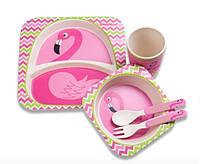 Детская бамбуковая посуда Фламинго, набор из 2-х тарелок, чашки, ложки и вилки BP8 Flamingo SKL25-149780