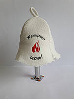Шапка для бані та сауни з яскравою вишивкою Жінка вогонь, фото 1