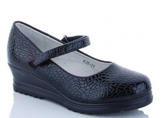 Туфли подросток черные,туфли детские школьные на девочку Солнце-Kimbo-o-K35-25