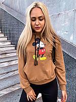 Свитшот, худи женский с Микки  Маусом коричневый