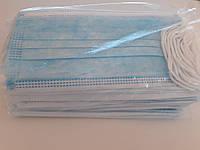 Маска трехслойная защитная медицинская с фиксатором на носу штампованная заводская упаковка 50 шт
