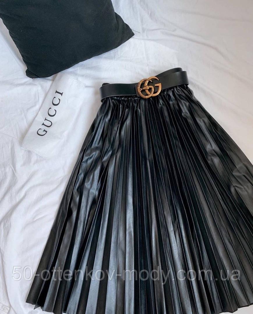 Женская юбка гофре миди, эко кожа