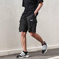 Шорты карго черные мужские с рефлективным шнуром Мейсон (Mason) от бренда ТУР размер S, M, L, XL,XXL