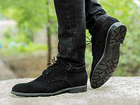 Мужские черные броги туфли из натурального замша