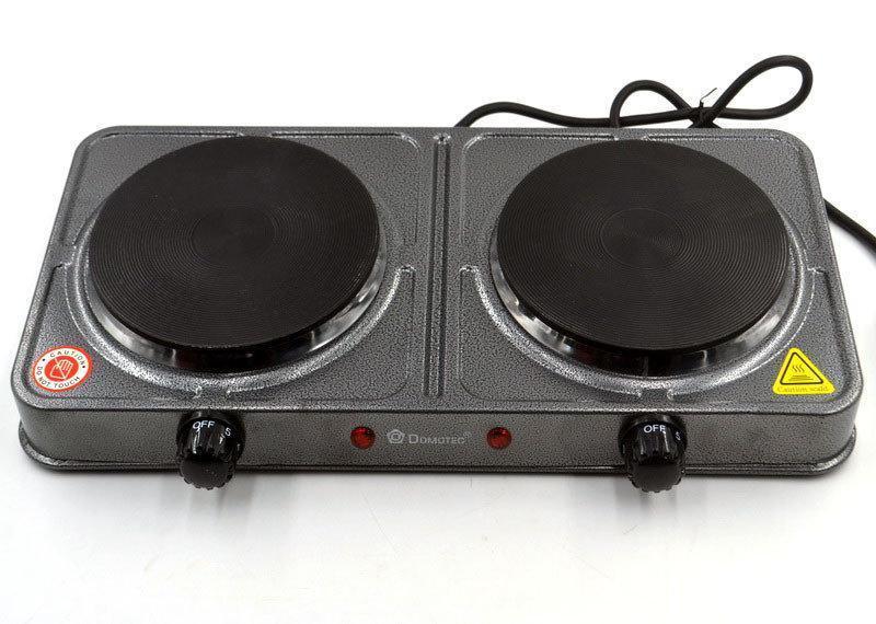 Дисковая электроплита на две конфорки с регулятором мощности серого цвета Domotec MS-5822