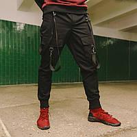 Карго штаны черные с лямками подростоковые размеры (чорні штани для підлітків)