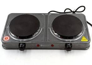 Дисковая электро плита на две конфорки с регулятором мощности серого цвета Domotec MS-5822