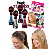 Наклейки и штампы с узорами на волосы Hot stamps