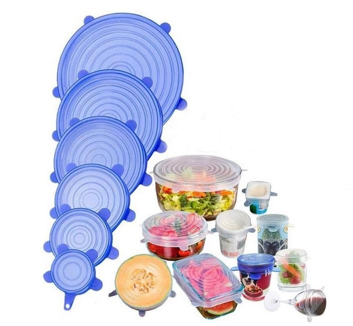 Универсальные силиконовые стрейч крышки для хранения продуктов  Silicon Lids (6 штук в наборе)