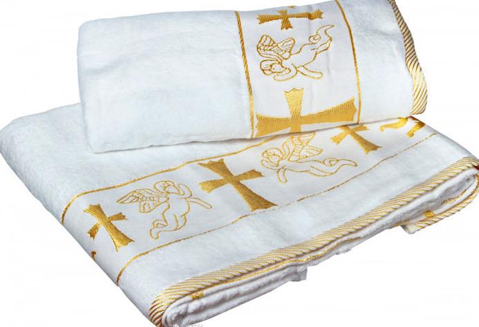 Крыжма- Полотенце для крещения вышивка Золото Серебро