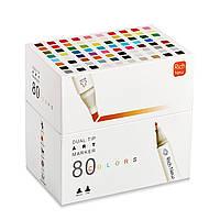 Набор двусторонних маркеров Rich New для рисования и скетчинга на спиртовой основе 80 штук