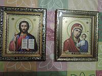 """Венчальная пара икон """"Спаситель и Божья Матерь"""". Изготовлены по церковному уставу. Размер  23 х 20 х 2 см., фото 1"""