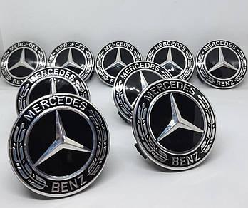 Крышка эмблема заглушка колпачок крышки диска Mercedes Benz черный
