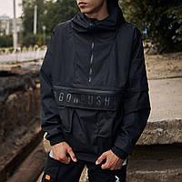Куртка мужская Load xx black   анорак-ветровка осенняя весенняя черная ЛЮКС качества