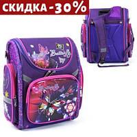 """Рюкзак школьный каркасный """"Бабочка"""", 1 отделение, 3 кармана (фиолетовый портфель для девочки, в школу - 1,2,3,4 класс)"""