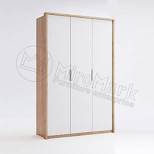 Шкаф 3 дв без зеркал Асти Дуб Крафт-Глянец Белый ТМ МироМарк