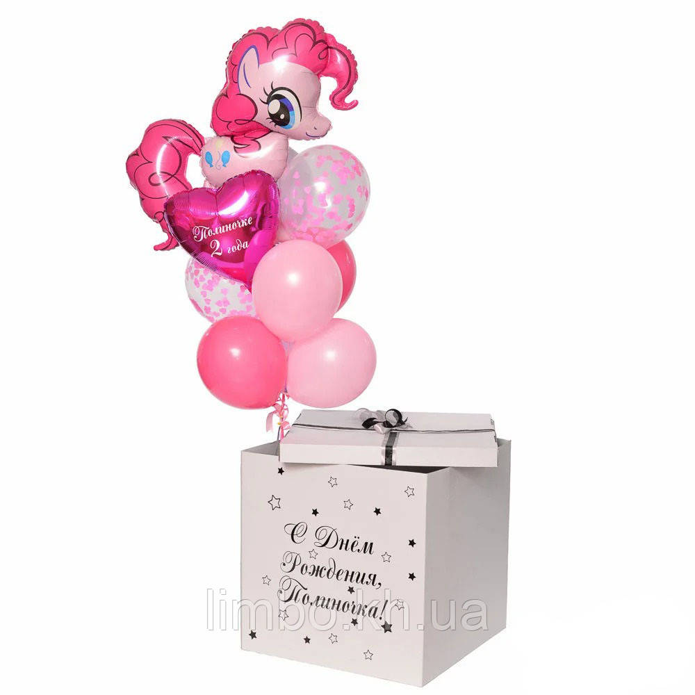 Коробка сюрприз з кулями і фольгированной фігурою Пінкі Пай
