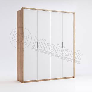Шкаф 4 дв без зеркал Асти Дуб Крафт-Глянец Белый ТМ МироМарк