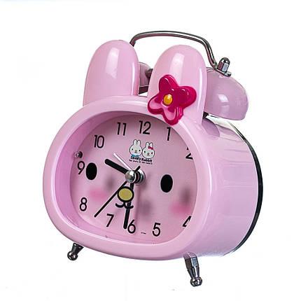 Часы будильник Lefard Зайка 10х12х5 см 12008-008-B настольные детские часы розовые с зайчиком, фото 2