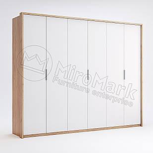 Шкаф 6 дв без зеркал Асти Дуб Крафт-Глянец Белый ТМ МироМарк