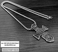 Мужской крестик православный Морской из медицинской стали