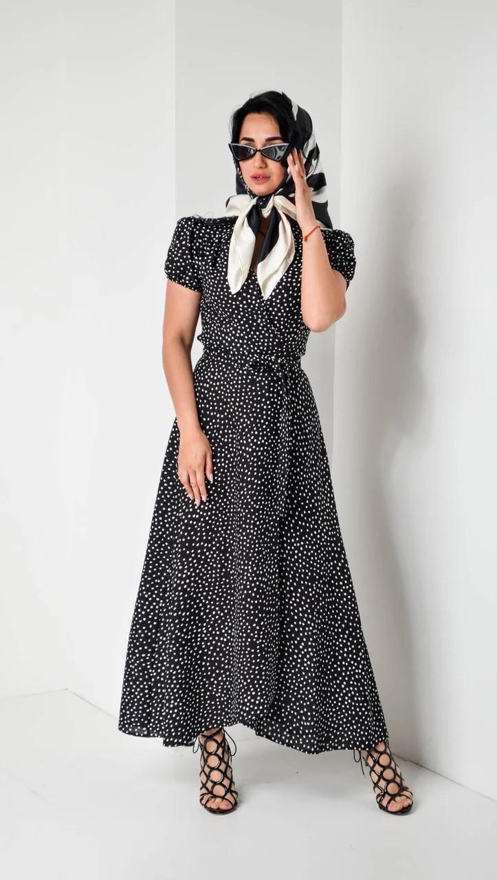 Льняное платье на запах черное