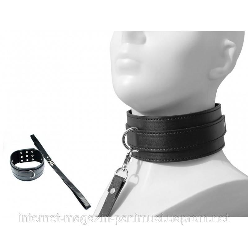 Комплект для BDSM Ошейник и поводок Черный 2 Элемента для Садо-мазо качество оригинал