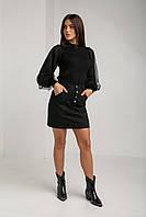 Модная трикотажная женская кофта с рукавом фонариком в черном и белом цветах в размере 40-46