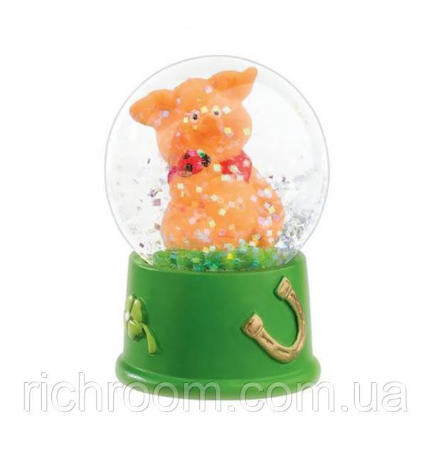 """Стеклянный шар """"Милая свинка с подковой"""" Melinera"""