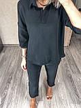 Женский повседневный костюм цвета: чёрный, хаки, беж размеры 42-44, 46-48, 50- 52, 54-56, фото 4