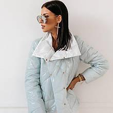 Женская куртка, плащёвка Лаке + синтепон 100, р-р 42; 44; 46; 48 (голубой)