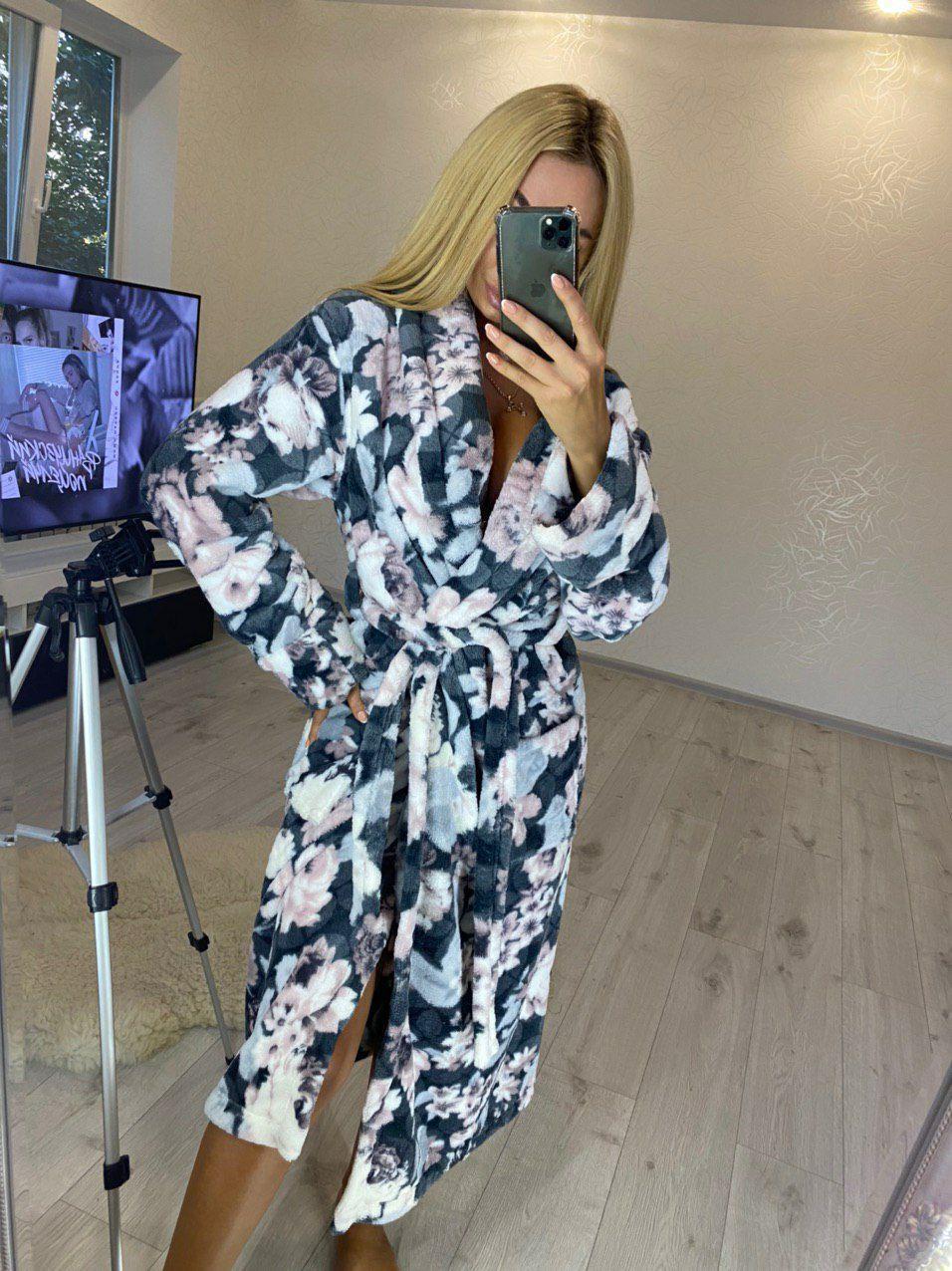 Женский длинный махровый халат с цветами хит продаж 2020 большие размеры